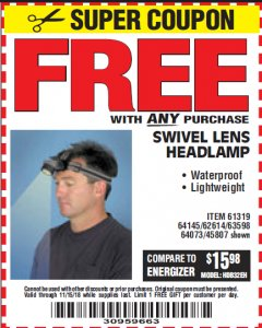 Harbor Freight FREE Coupon HEADLAMP WITH SWIVEL LENS Lot No. 45807/61319/63598/62614 Expired: 11/15/18 - FWP