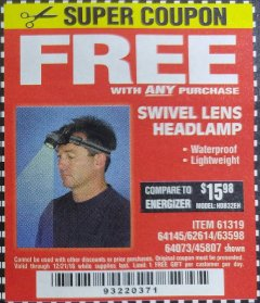 Harbor Freight FREE Coupon HEADLAMP WITH SWIVEL LENS Lot No. 45807/61319/63598/62614 Expired: 12/21/18 - FWP