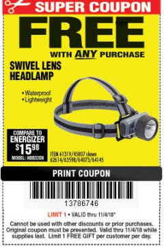 Harbor Freight FREE Coupon HEADLAMP WITH SWIVEL LENS Lot No. 45807/61319/63598/62614 Expired: 11/4/18 - FWP