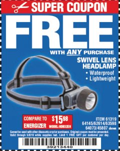 Harbor Freight FREE Coupon HEADLAMP WITH SWIVEL LENS Lot No. 45807/61319/63598/62614 Valid Thru: 5/6/19 - FWP