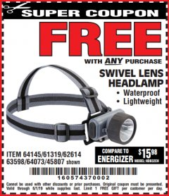 Harbor Freight FREE Coupon HEADLAMP WITH SWIVEL LENS Lot No. 45807/61319/63598/62614 Valid Thru: 6/1/19 - FWP