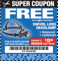 Harbor Freight FREE Coupon HEADLAMP WITH SWIVEL LENS Lot No. 45807/61319/63598/62614 Valid Thru: 7/19/19 - FWP