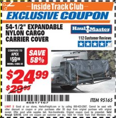 "Harbor Freight ITC Coupon 54-1/2"" EXPANDABLE NYLON CARGO CARRIER COVER Lot No. 95165 Dates Valid: 5/3/19 - 5/31/19 - $24.99"