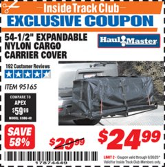"Harbor Freight ITC Coupon 54-1/2"" EXPANDABLE NYLON CARGO CARRIER COVER Lot No. 95165 Dates Valid: 12/31/69 - 6/30/20 - $24.99"
