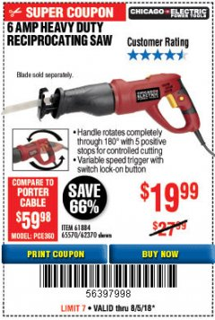 Harbor Freight Coupon 6 AMP HEAVY DUTY RECIPROCATING SAW Lot No. 61884/65570/62370 Expired: 8/5/18 - $19