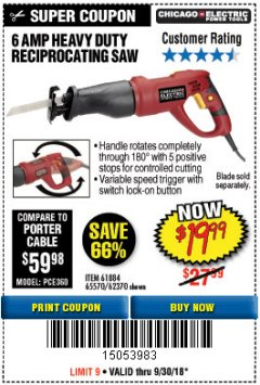 Harbor Freight Coupon 6 AMP HEAVY DUTY RECIPROCATING SAW Lot No. 61884/65570/62370 Expired: 9/30/18 - $19.99