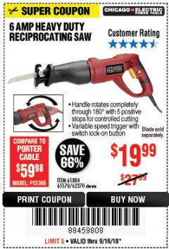 Harbor Freight Coupon 6 AMP HEAVY DUTY RECIPROCATING SAW Lot No. 61884/65570/62370 Expired: 9/16/18 - $19.99