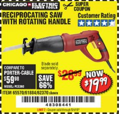 Harbor Freight Coupon 6 AMP HEAVY DUTY RECIPROCATING SAW Lot No. 61884/65570/62370 Valid Thru: 5/4/19 - $19.99