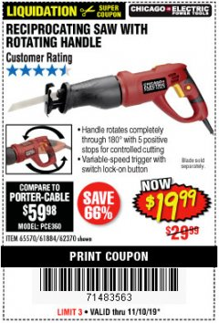 Harbor Freight Coupon 6 AMP HEAVY DUTY RECIPROCATING SAW Lot No. 61884/65570/62370 Expired: 11/10/19 - $19.99