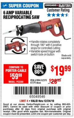 Harbor Freight Coupon 6 AMP HEAVY DUTY RECIPROCATING SAW Lot No. 61884/65570/62370 Expired: 12/24/19 - $19.99