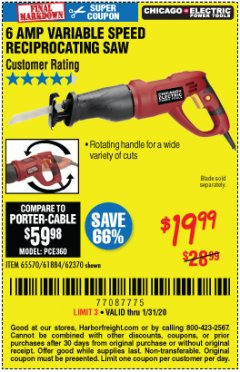 Harbor Freight Coupon 6 AMP HEAVY DUTY RECIPROCATING SAW Lot No. 61884/65570/62370 Expired: 1/31/20 - $19.99