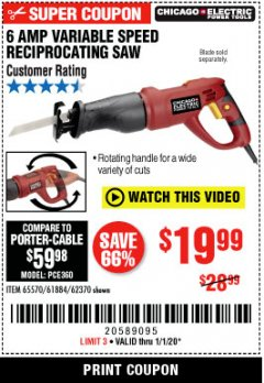 Harbor Freight Coupon 6 AMP HEAVY DUTY RECIPROCATING SAW Lot No. 61884/65570/62370 Expired: 1/1/20 - $19.99