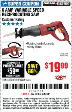 Harbor Freight Coupon 6 AMP HEAVY DUTY RECIPROCATING SAW Lot No. 61884/65570/62370 Expired: 2/17/20 - $19.99