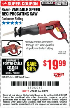 Harbor Freight Coupon 6 AMP HEAVY DUTY RECIPROCATING SAW Lot No. 61884/65570/62370 Expired: 6/30/20 - $19.99