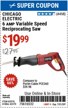 Harbor Freight Coupon 6 AMP HEAVY DUTY RECIPROCATING SAW Lot No. 61884/65570/62370 Expired: 7/15/20 - $19.99