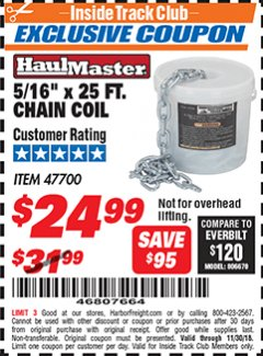 Harbor Freight ITC Coupon 5/16'' X 25 FT. CHAIN COIL Lot No. 47700 Expired: 11/30/18 - $24.99