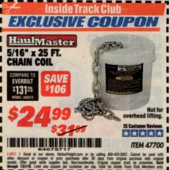 Harbor Freight ITC Coupon 5/16'' X 25 FT. CHAIN COIL Lot No. 47700 Expired: 7/31/19 - $24.99
