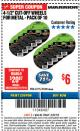 "Harbor Freight ITC Coupon WARRIOR 4-1/2"" CUT-OFF WHEELS FOR METAL - PACK OF 10 Lot No. 61195/45430 Expired: 3/8/18 - $6"