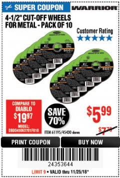 "Harbor Freight Coupon WARRIOR 4-1/2"" CUT-OFF WHEELS FOR METAL - PACK OF 10 Lot No. 61195/45430 Expired: 11/25/18 - $5.99"