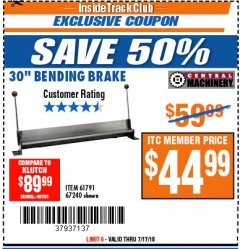 Harbor Freight ITC Coupon 30'' BENDING BRAKE Lot No. 67240/61791 Expired: 7/17/18 - $44.99