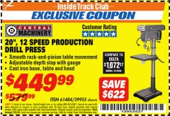 Harbor Freight ITC Coupon 20'', 12 SPEED PRODUCTION DRILL PRESS Lot No. 61484/39955 Expired: 7/31/18 - $449.99