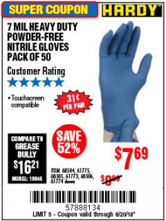 Harbor Freight Coupon 7 MIL HEAVY DUTY POWDER-FREE NITRILE GLOVES PACK OF 50 Lot No. 68504/61775/61773/68506/61774/68505 Expired: 8/20/18 - $7.69