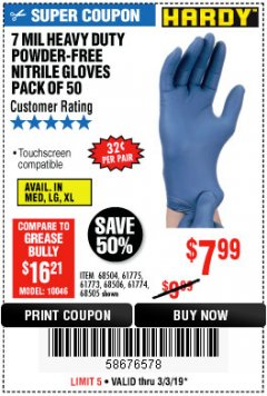 Harbor Freight Coupon 7 MIL HEAVY DUTY POWDER-FREE NITRILE GLOVES PACK OF 50 Lot No. 68504/61775/61773/68506/61774/68505 Expired: 3/3/19 - $7.99