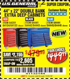 "Harbor Freight Coupon 44"" X 22"" DOUBLE BANK EXTRA DEEP ROLLER CABINETS Lot No. 64444/64445/64446/64441/64442/64443/64281/64134/64133/64954/64955/64956 Expired: 12/20/18 - $449.99"