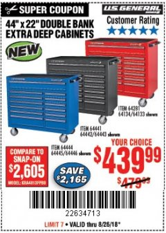 "Harbor Freight Coupon 44"" X 22"" DOUBLE BANK EXTRA DEEP ROLLER CABINETS Lot No. 64444/64445/64446/64441/64442/64443/64281/64134/64133/64954/64955/64956 Expired: 8/26/18 - $439.99"