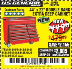 "Harbor Freight Coupon 44"" X 22"" DOUBLE BANK EXTRA DEEP ROLLER CABINETS Lot No. 64444/64445/64446/64441/64442/64443/64281/64134/64133/64954/64955/64956 Expired: 11/2/18 - $449.99"