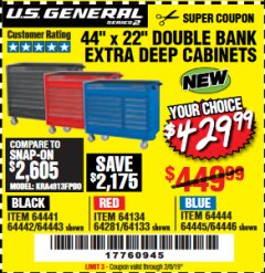 "Harbor Freight Coupon 44"" X 22"" DOUBLE BANK EXTRA DEEP ROLLER CABINETS Lot No. 64444/64445/64446/64441/64442/64443/64281/64134/64133/64954/64955/64956 Expired: 2/8/19 - $429.99"
