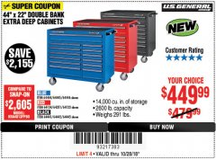 "Harbor Freight Coupon 44"" X 22"" DOUBLE BANK EXTRA DEEP ROLLER CABINETS Lot No. 64444/64445/64446/64441/64442/64443/64281/64134/64133/64954/64955/64956 Expired: 10/28/18 - $449.99"