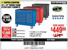 "Harbor Freight Coupon 44"" X 22"" DOUBLE BANK EXTRA DEEP ROLLER CABINETS Lot No. 64444/64445/64446/64441/64442/64443/64281/64134/64133/64954/64955/64956 Expired: 11/4/18 - $449.99"