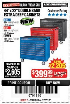 "Harbor Freight Coupon 44"" X 22"" DOUBLE BANK EXTRA DEEP ROLLER CABINETS Lot No. 64444/64445/64446/64441/64442/64443/64281/64134/64133/64954/64955/64956 Expired: 12/2/18 - $399.99"