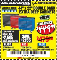 "Harbor Freight Coupon 44"" X 22"" DOUBLE BANK EXTRA DEEP ROLLER CABINETS Lot No. 64444/64445/64446/64441/64442/64443/64281/64134/64133/64954/64955/64956 Expired: 4/1/19 - $449.99"