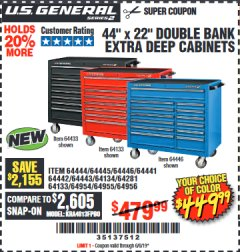 "Harbor Freight Coupon 44"" X 22"" DOUBLE BANK EXTRA DEEP ROLLER CABINETS Lot No. 64444/64445/64446/64441/64442/64443/64281/64134/64133/64954/64955/64956 Expired: 6/6/19 - $449.99"