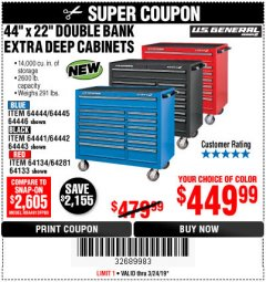 "Harbor Freight Coupon 44"" X 22"" DOUBLE BANK EXTRA DEEP ROLLER CABINETS Lot No. 64444/64445/64446/64441/64442/64443/64281/64134/64133/64954/64955/64956 Expired: 3/24/19 - $449.99"