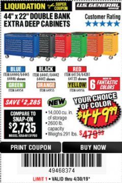 "Harbor Freight Coupon 44"" X 22"" DOUBLE BANK EXTRA DEEP ROLLER CABINETS Lot No. 64444/64445/64446/64441/64442/64443/64281/64134/64133/64954/64955/64956 Expired: 4/30/19 - $449.99"