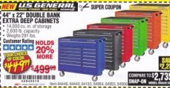 "Harbor Freight Coupon 44"" X 22"" DOUBLE BANK EXTRA DEEP ROLLER CABINETS Lot No. 64444/64445/64446/64441/64442/64443/64281/64134/64133/64954/64955/64956 Expired: 7/31/19 - $449.99"