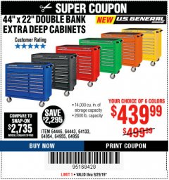 "Harbor Freight Coupon 44"" X 22"" DOUBLE BANK EXTRA DEEP ROLLER CABINETS Lot No. 64444/64445/64446/64441/64442/64443/64281/64134/64133/64954/64955/64956 Expired: 9/29/19 - $439.99"