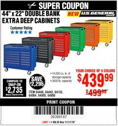 "Harbor Freight Coupon 44"" X 22"" DOUBLE BANK EXTRA DEEP ROLLER CABINETS Lot No. 64444/64445/64446/64441/64442/64443/64281/64134/64133/64954/64955/64956 Expired: 11/17/19 - $439.99"