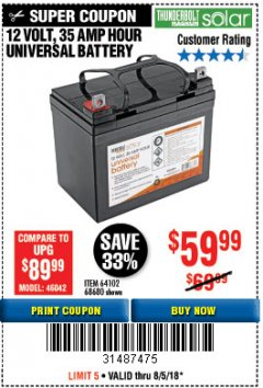 Harbor Freight Coupon 12 VOLT,35 AMP HOUR UNIVERSAL BATTERY Lot No. 64102 / 68680 Expired: 8/15/18 - $59.99