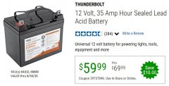 Harbor Freight Coupon 12 VOLT,35 AMP HOUR UNIVERSAL BATTERY Lot No. 64102 / 68680 Expired: 6/30/20 - $59.99