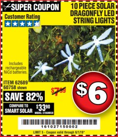 Harbor Freight Coupon 10 PIECE SOLAR DRAGONFLY LED STRING LIGHT Lot No. 62689/60758 EXPIRES: 6/1/19 - $6