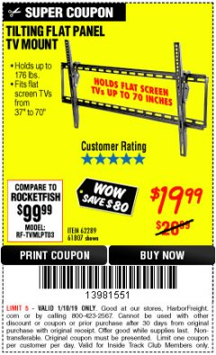 Harbor Freight ITC Coupon LARGE TILT MOUNT FLAT PANEL TV BRACKET Lot No. 61807/62289/67781 Expired: 1/10/19 - $19.99