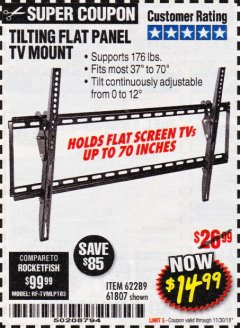 Harbor Freight Coupon LARGE TILT MOUNT FLAT PANEL TV BRACKET Lot No. 61807/62289/67781 Expired: 11/30/18 - $14.99