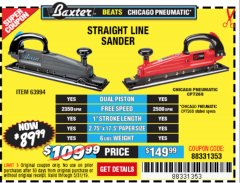 Harbor Freight Coupon BAXTER STRAIGHT LINE AIR SANDER Lot No. 63994 EXPIRES: 5/31/19 - $89.99