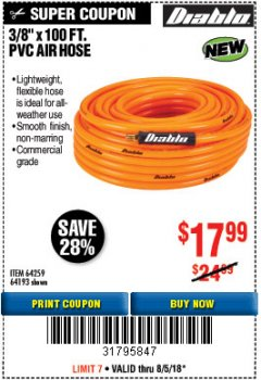 "Harbor Freight Coupon DIABLO 3/8"" X 100 FT. PVC AIR HOSE Lot No. 64193/64259 Expired: 8/5/18 - $17.99"