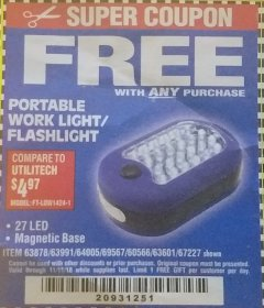 Harbor Freight FREE Coupon LED PORTABLE WORKLIGHT/FLASHLIGHT Lot No. 63878/63991/64005/69567/60566/63601/67227 Expired: 11/11/18 - FWP