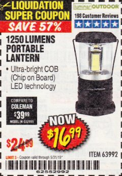 Harbor Freight Coupon 1250 LUMENS PORTABLE LANTERN Lot No. 63992 EXPIRES: 5/31/19 - $16.99